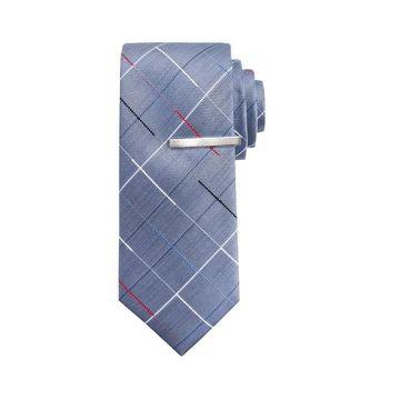 Men's Apt. 9 Grid Skinny Tie with Tie Bar