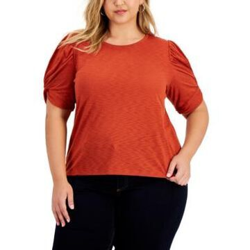 Inc International Concepts Plus Size Puff Sleeve Top, Created For Macy's