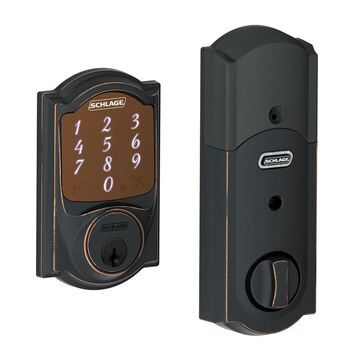 Schlage BE479-CAM Sense Camelot Touchscreen Smart Deadbolt with Built-in Alarm Aged Bronze Deadbolt Keyless Entry Electronic