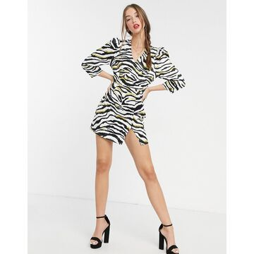 Liquorish mini dress with 3/4 length sleeves in zebra print-Multi