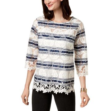 Charter Club Womens Lace Striped Blouse
