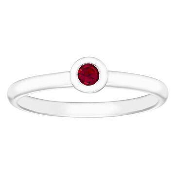 Boston Bay Diamonds Sterling Silver Bezel Set Ruby Stack Ring, Women's, Size: 5, Red
