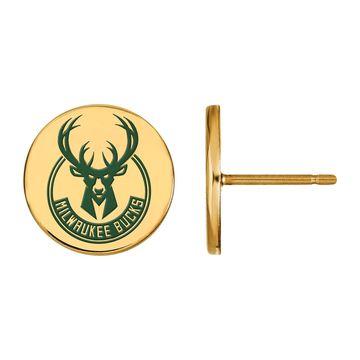 LogoArt Milwaukee Bucks Enamel Disc Stud Earrings