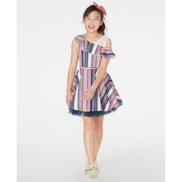 Beautees Big Girls Ruffled Belted Skater Dress & Bow Clip