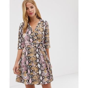 QED London wrap front shirt dress in snake print