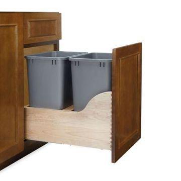 Rev-A-Shelf 4WCSC-1835DM-2 Dual 35 qt. Bottom Mount Wood/Silver Waste Container w/Soft-Close Slides