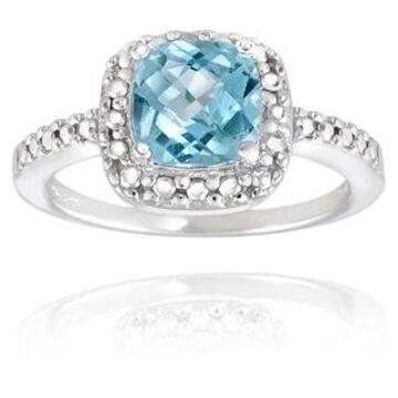 Glitzy Rocks Sterling Silver Square Cushion-cut Gemstone and Diamond Accent Ring (November - Blue - Yellow/Blue - 11 - Topaz)