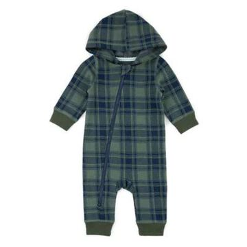 Sovereign Code Plaid Hooded Coverall in Green/Navy