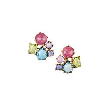18K Rock Candy Cluster Stud Earrings in Fall Rainbow