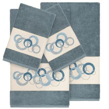 Authentic Hotel and Spa Turkish Cotton Circles Embroidered Teal Blue 4-piece Towel Set