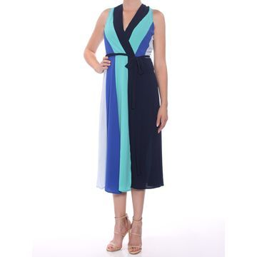 ECI Womens Navy Tie Color Block Sleeveless V Neck Below The Knee Sheath Formal Dress Size: 8