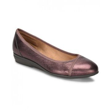 Comfortiva Womens Eaton Leather Almond Toe Ballet Flats