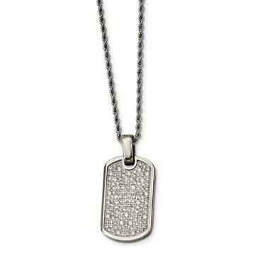 Chisel Stainless Steel Fancy CZ Dog Tag Pendant Necklace