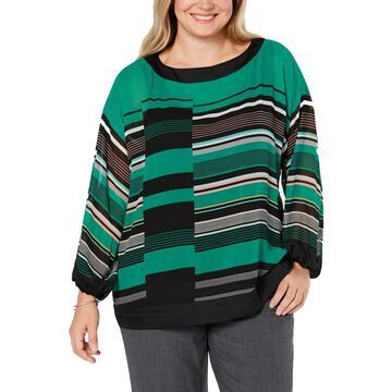 Alfani Womens Plus Sheer Striped Blouse