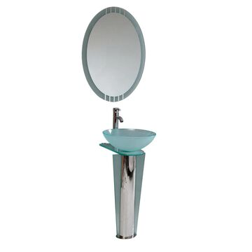 Fresca Vitale 17-in Stainless Steel Single Sink Bathroom Vanity with White Glass Top (Mirror and Faucet Included) | FVN1053