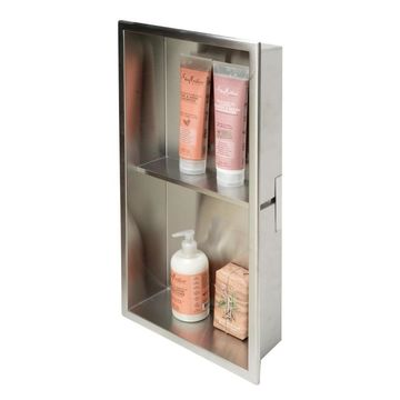 ALFI brand ALFI brand 12 x 24 Brushed Stainless Steel Vertical Double Shelf Bath Shower Niche