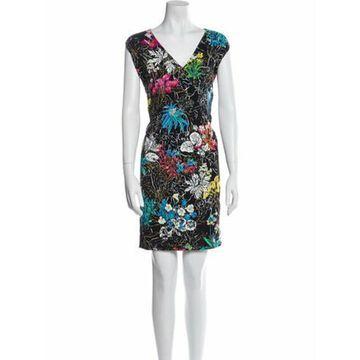 Floral Print Knee-Length Dress Black