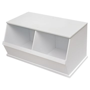 Badger Basket Two Bin Storage Cubby - White