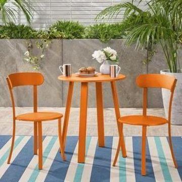 Barbados Outdoor Bistro Set by Christopher Knight Home (matte orange)