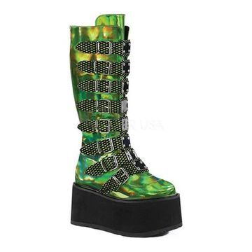 Demonia Women's Damned 318 Knee-High Platform Buckle Boot Lime Green Hologram Vegan Leather