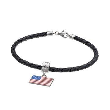 LogoArt Sterling Silver American Flag Charm Bracelet