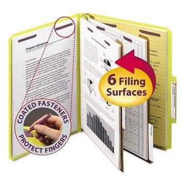 Smead Pressboard Classification Folders Letter Six-Section Yellow 10/Box