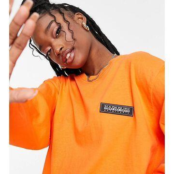 Napapijri Patch long sleeve t-shirt in orange Exclusive at ASOS