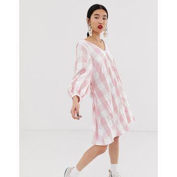 ASOS WHITE gingham wrap mini dress