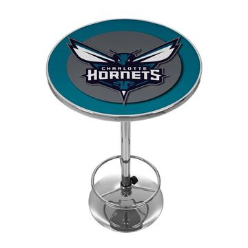 Trademark Gameroom Charlotte Hornets Pub Tables Chrome Round Bar Table, Composite with Metal Metal Base