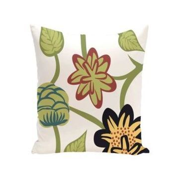 Tropical Floral 16 Inch Blue Decorative Floral Throw Pillow