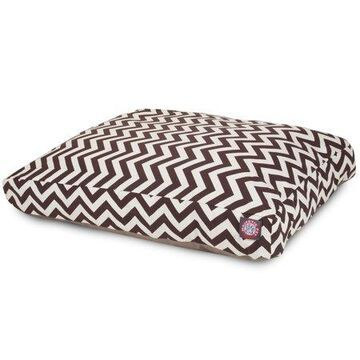 """Majestic Pet Chevron Rectangle Dog Bed Treated Polyester Removable Cover Chocolate Extra Large 50"""" x 42"""" x 5"""""""