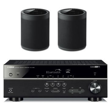 Yamaha RX-V485BL 5.1 Channel AV Network Receiver with WX-021BL MusicCast 20 Wireless Speakers - Pair (Black)