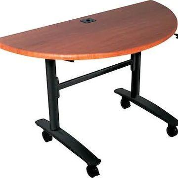 Balt Lumina Desk Half-Round Flip-Top Computer Training Table, Cherry, 29.5H x 48W x 24D (89999) | Quill