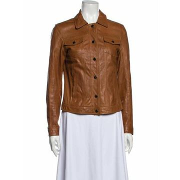 Lamb Leather Biker Jacket Brown
