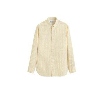 MANGO MAN - Slim fit printed cotton shirt yellow - XXS - Men