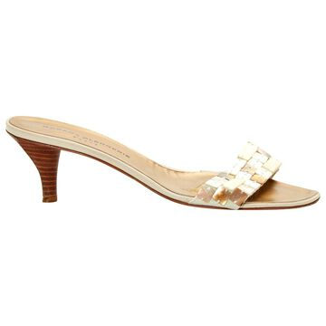 Robert Clergerie Beige Leather Mules & Clogs