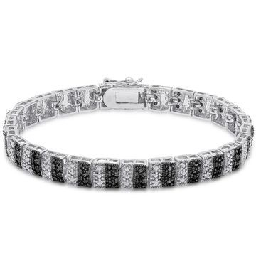 Finesque Sterling Silver 1ct TDW Black and White Diamond Stripe Bracelet (OSB648)