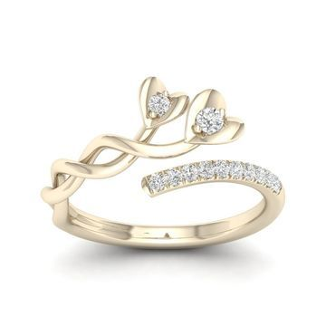 De Couer 10k Yellow Gold 1/6ct TDW Diamond Heart Promise Ring