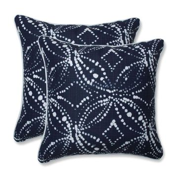 Pillow Perfect Gerardo Italian Denim 2-Piece 16.5-in W x 16.5-in L Indoor Decorative Pillow Polyester in Blue