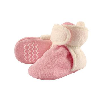 Hudson Baby Girls' Infant Booties and Crib Shoes Light - Light Pink Fleece-Lined Booties - Girls