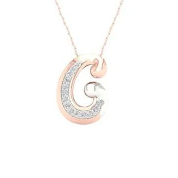 1/10ct TDW Diamond Mom and Child Necklace in Sterling Silver by De Couer