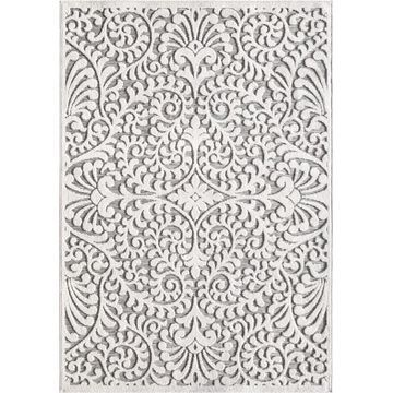 Orian Rugs My Texas House Bluebonnets 8 x 11 Natural/Gray Indoor/Outdoor Damask Farmhouse/Cottage Area Rug in Off-White   437478