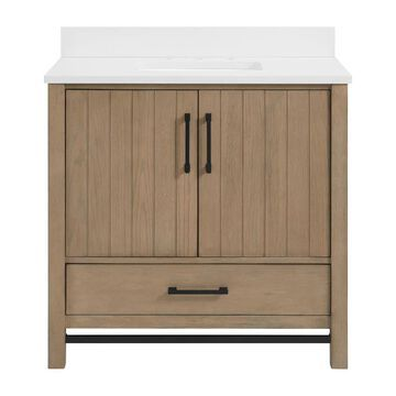 allen + roth Brawley 36-in Rustic Oak Undermount Single Sink Bathroom Vanity with White Engineered Stone Top in Brown   1960VA-36-277-901-UM