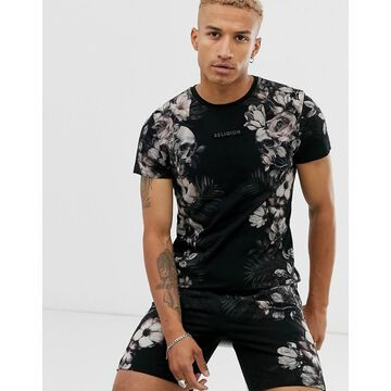 Religion two-piece t-shirt with floral side print in black