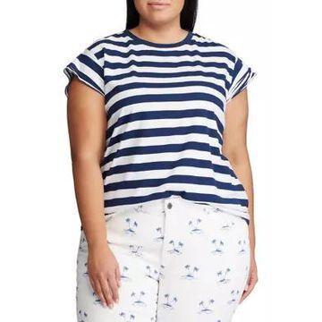 Chaps Women's Plus Size Flutter Sleeve Knit T-Shirt - -