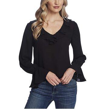 CeCe Long Sleeve Ruffled V-Neck Blouse Women's Clothing