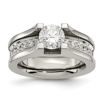 Chisel Titanium and Sterling Silver Polished Cubic Zirconia Ring (6)