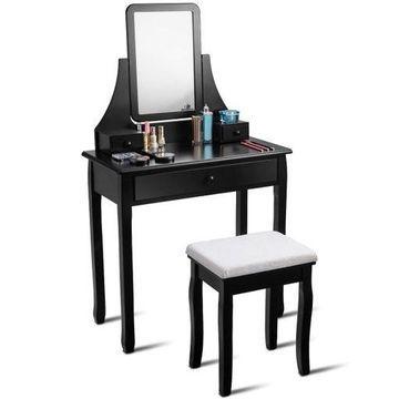 Vanity Dressing Table Set Mirror Desk Furniture Stool W/ Mirror & 3 Drawer Black