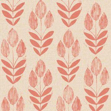 Beacon House Scandinavian Red Block Print Tulip Wallpaper