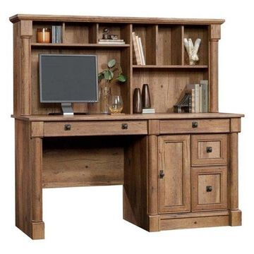 Pemberly Row Computer Desk with Hutch in Vintage Oak